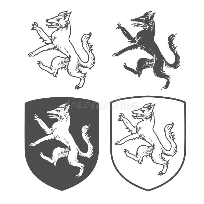 Escudos heráldicos del vector con el perro libre illustration