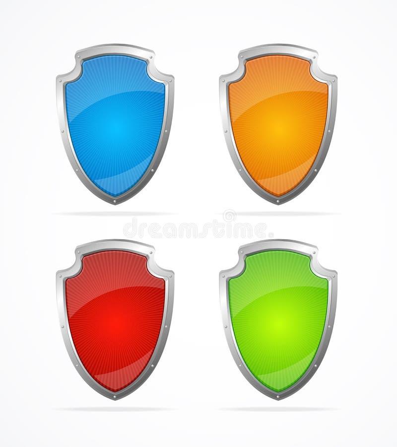 Escudos vacíos del metal del vector. Iconos libre illustration