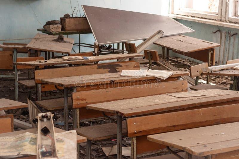 Escuela abandonada en Chernobyl foto de archivo libre de regalías