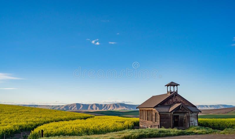 Escuela abandonada que se sienta en campos del trigo y del Canola en Oregon central foto de archivo libre de regalías
