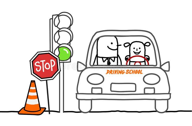 Escuela de conducción stock de ilustración