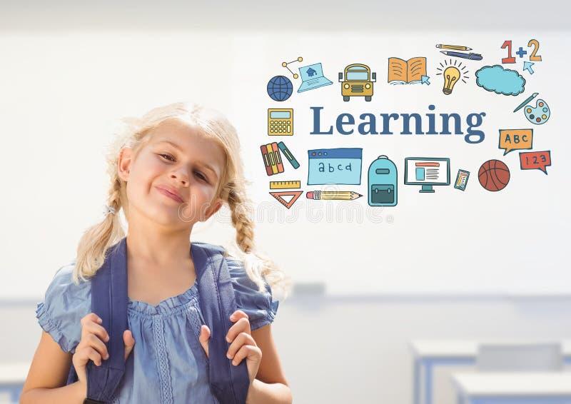 Escuela de la chica joven con el bolso y texto del aprendizaje con los gráficos de los dibujos ilustración del vector