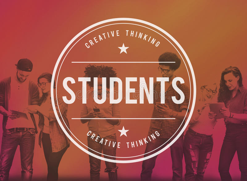Escuela de la educación de los estudiantes que aprende estudiando concepto imagenes de archivo