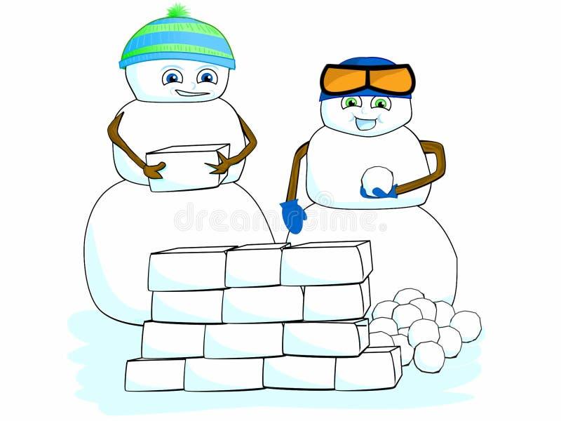 Escuela de la escena del invierno de la casa del fuerte de Art Children Snowman Building Snow del clip de la historieta libre illustration
