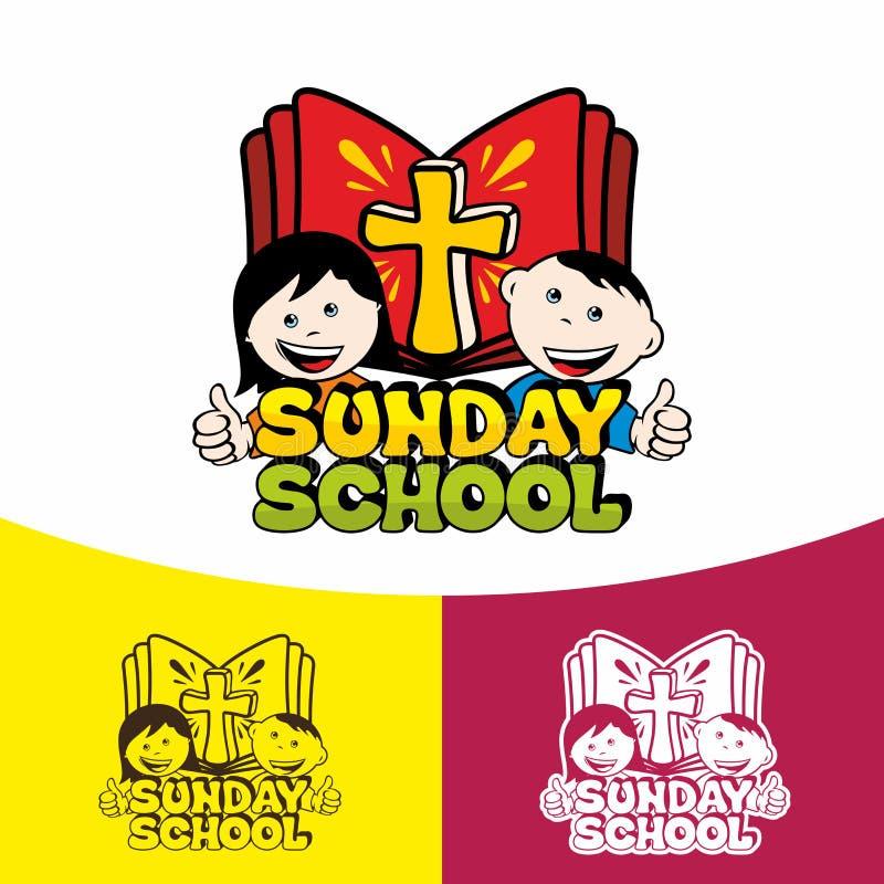 Escuela de Logo Sunday Símbolos cristianos La iglesia de Jesus Christ stock de ilustración