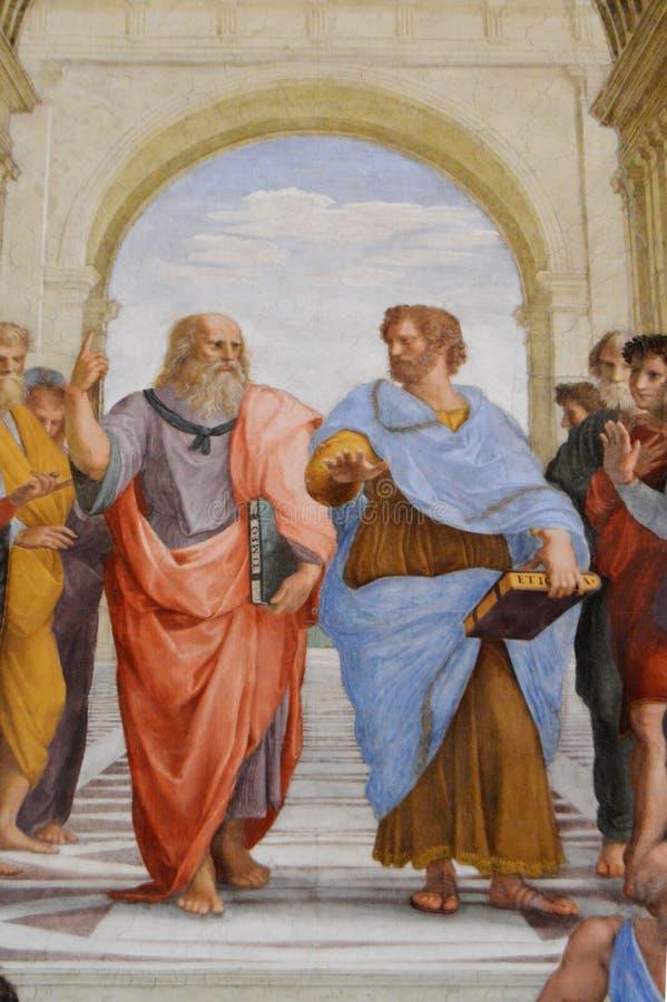 Escuela del fresco de Atenas por Raphael fotografía de archivo libre de regalías