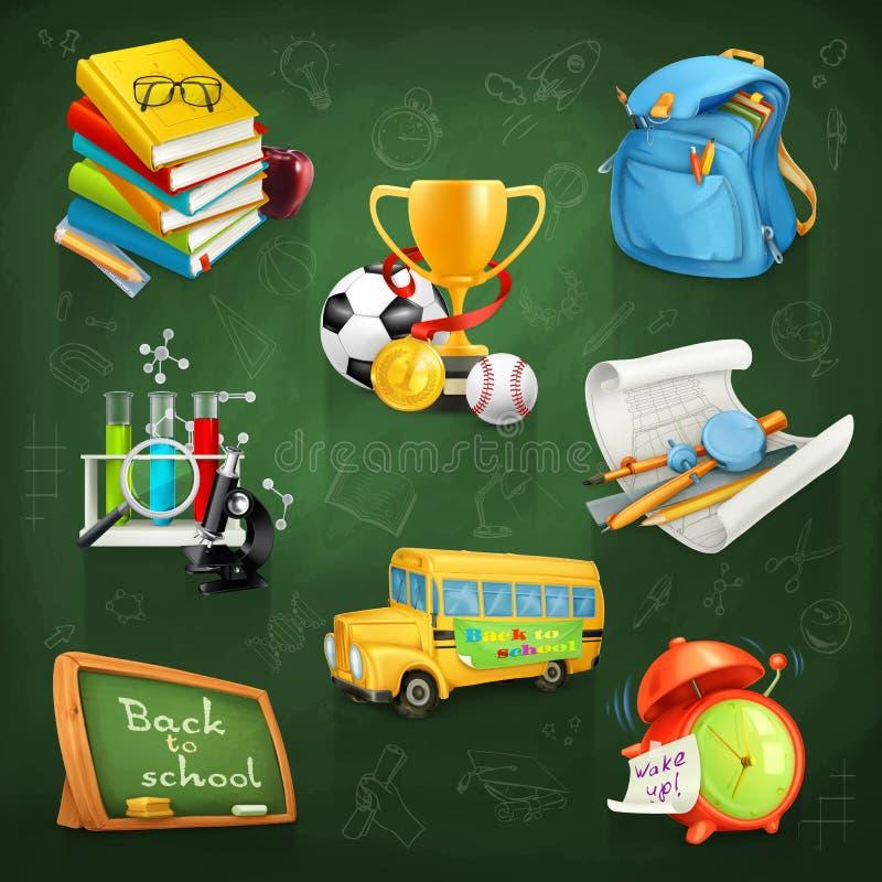 Escuela, educación y conocimiento stock de ilustración