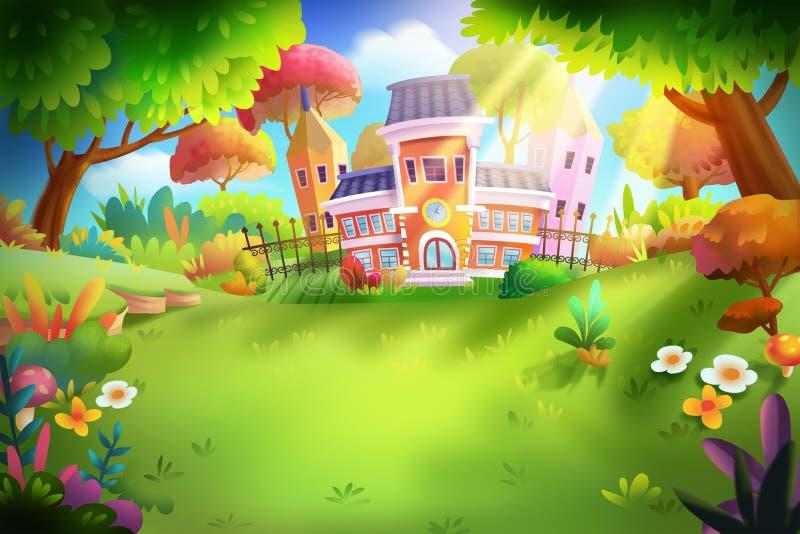 Escuela en el bosque con estilo fantástico, realista libre illustration