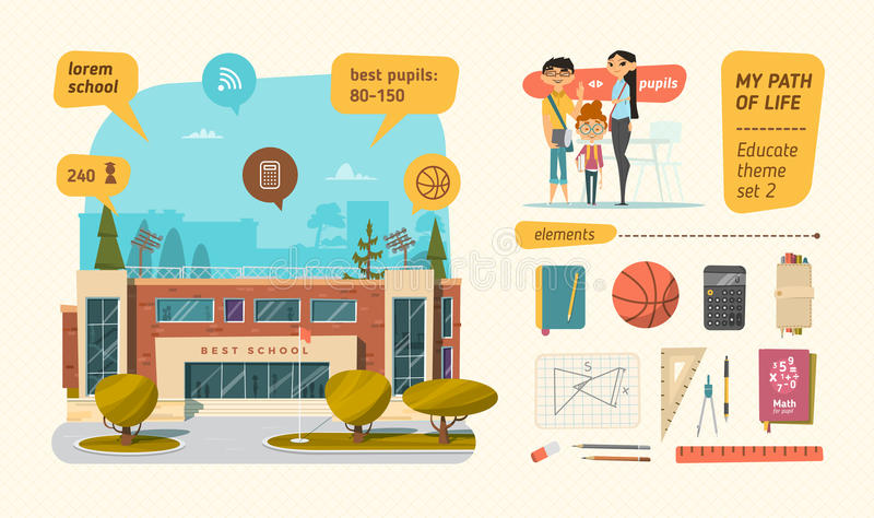 Escuela fijada con los elementos ilustración del vector