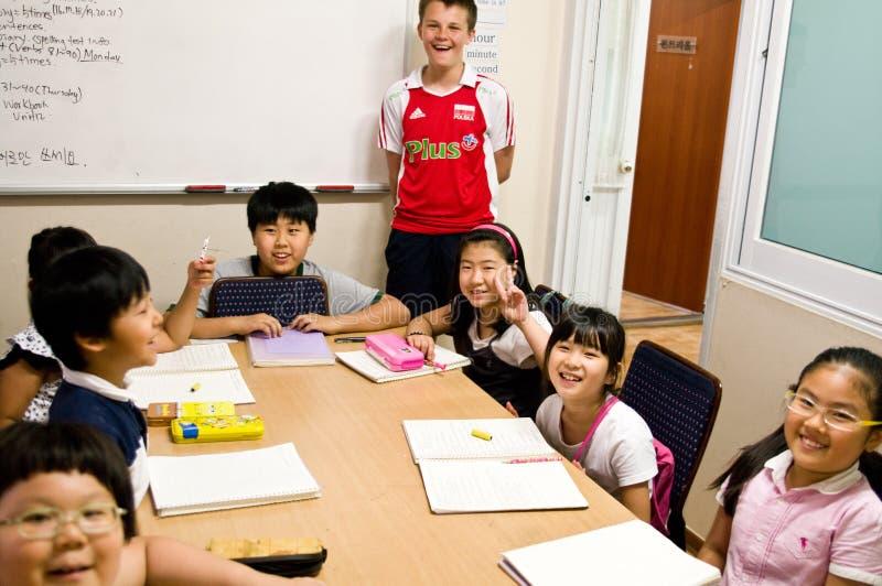 Escuela inglesa en el Sur Corea imagenes de archivo