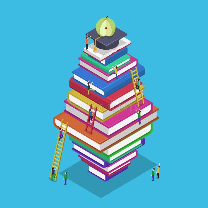 Escuela isométrica 3d de la parte posterior de la graduación de la educación ilustración del vector