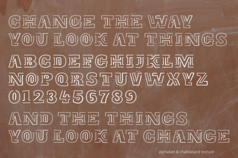 Escuela, letras retras del alfabeto del estilo y números sobre textura de la pizarra stock de ilustración