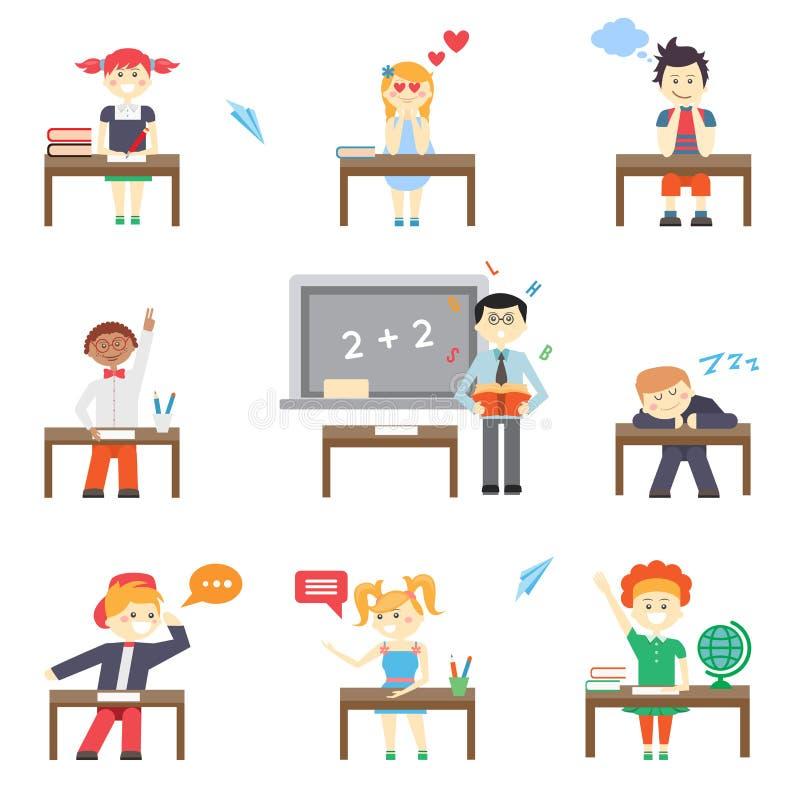 Escuela Muchachos y muchachas ilustración del vector
