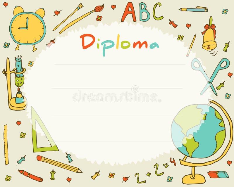 Escuela primaria preescolar Fondo del certificado del diploma de los niños ilustración del vector