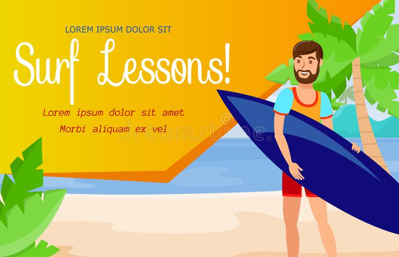 Escuela que practica surf y plantilla activa de la bandera del resto libre illustration