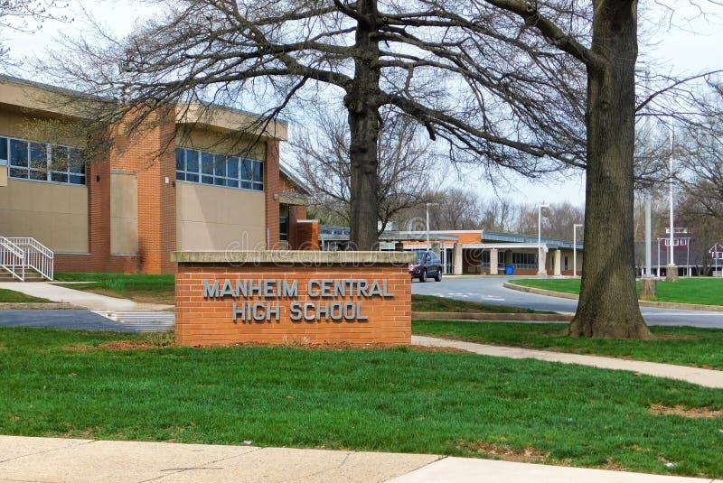 Escuela secundaria central de Manheim imágenes de archivo libres de regalías