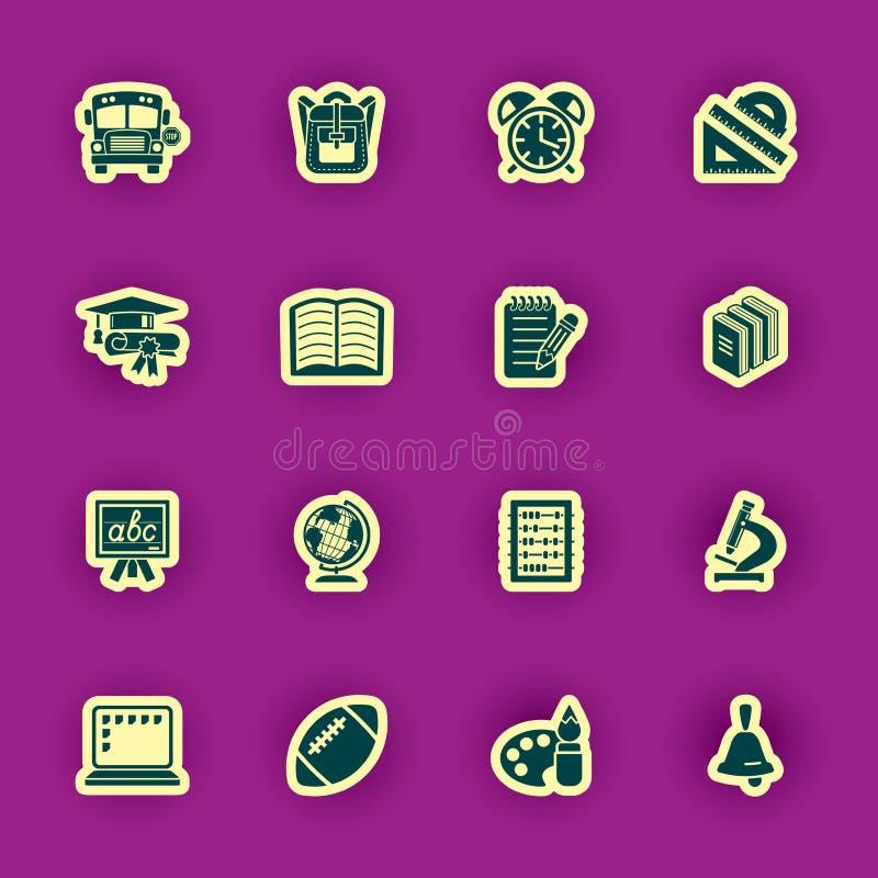 Escuela y conjunto del icono de la educación stock de ilustración