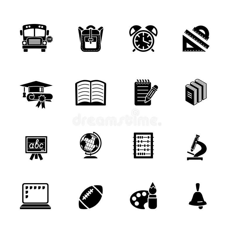 Escuela y conjunto del icono de la educación ilustración del vector