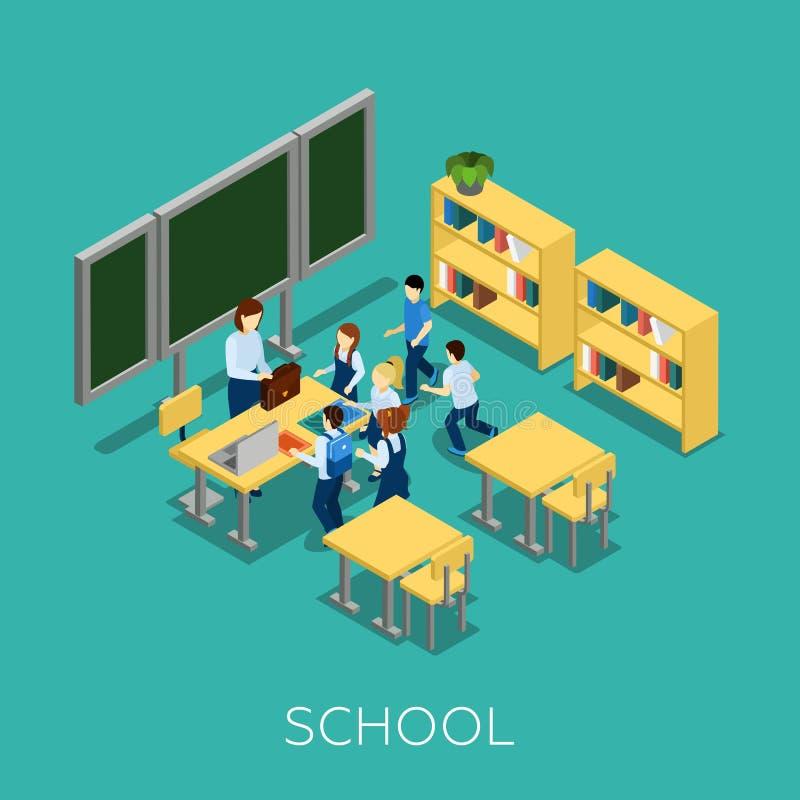 Escuela y ejemplo del aprendizaje stock de ilustración