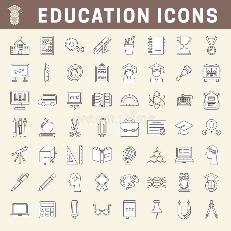 Escuela y línea fina iconos de la educación con el terraplén libre illustration