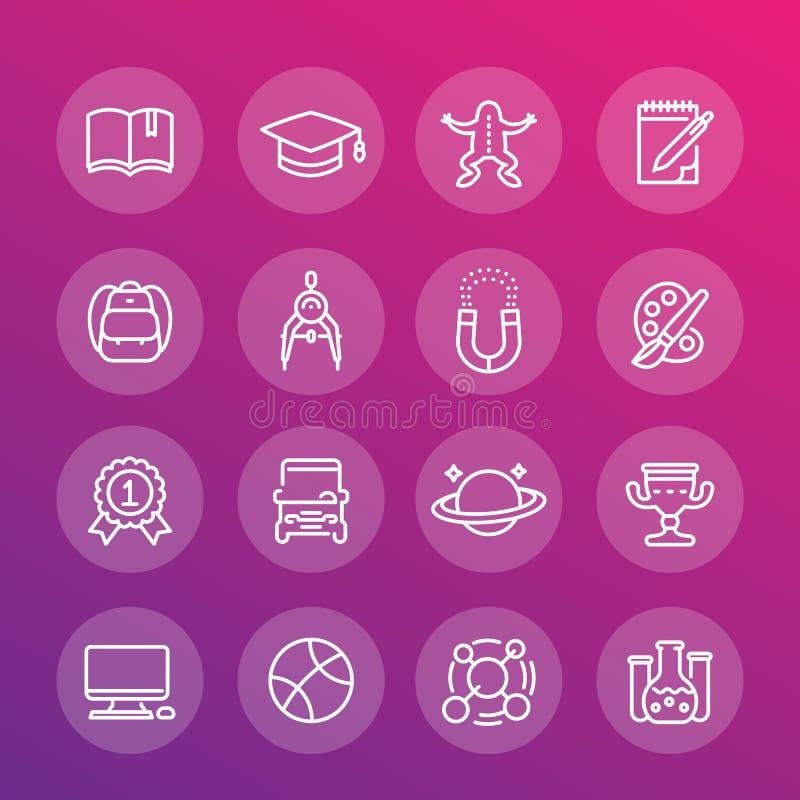 Escuela y universidad, línea iconos de la educación fijados stock de ilustración