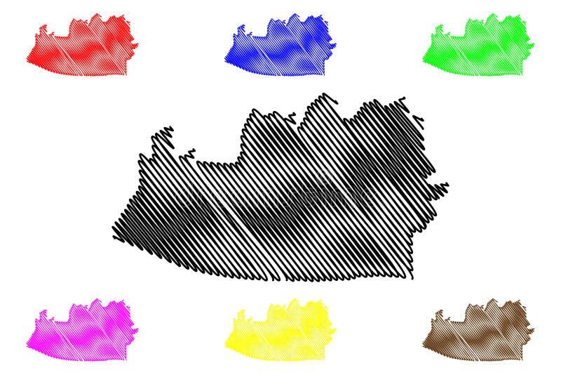 Escuintla-Abteilung Republik Guatemala, Abteilungen der Guatemala-Kartenvektorillustration, Gekritzelskizze Escuintla-Karte stock abbildung