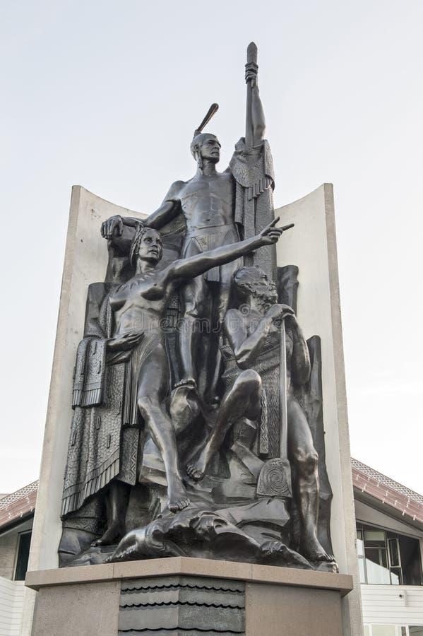 Esculpa las características Kupe Raiatea, el gran explorador maorí y al descubridor del puerto de Wellington, Nueva Zelanda foto de archivo