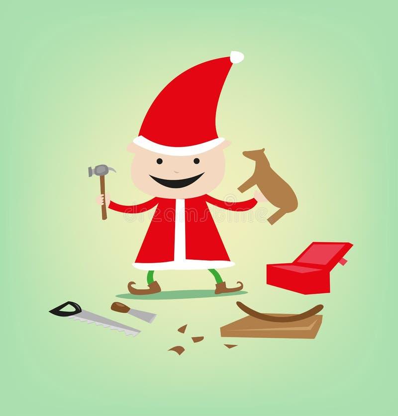 Esculpindo o duende para brinquedos e presentes do Natal para presentes de Santa Claus ' ilustração stock