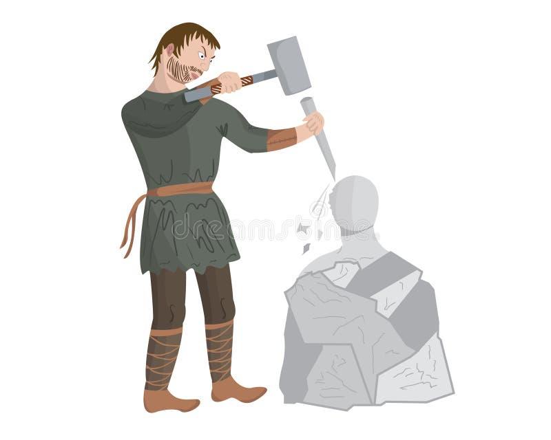 Escultor medieval stock de ilustración