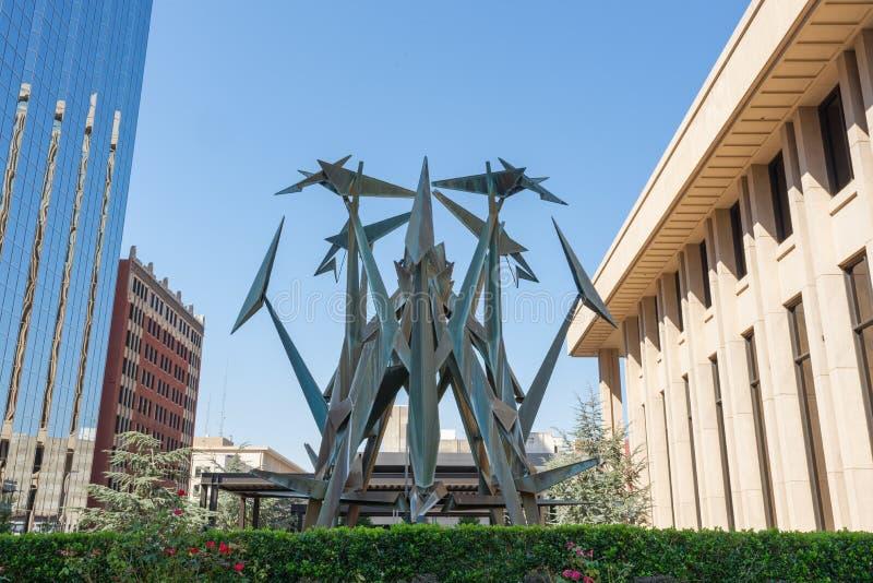 Escultura abstrata em Oklahoma City, Oklahoma foto de stock royalty free