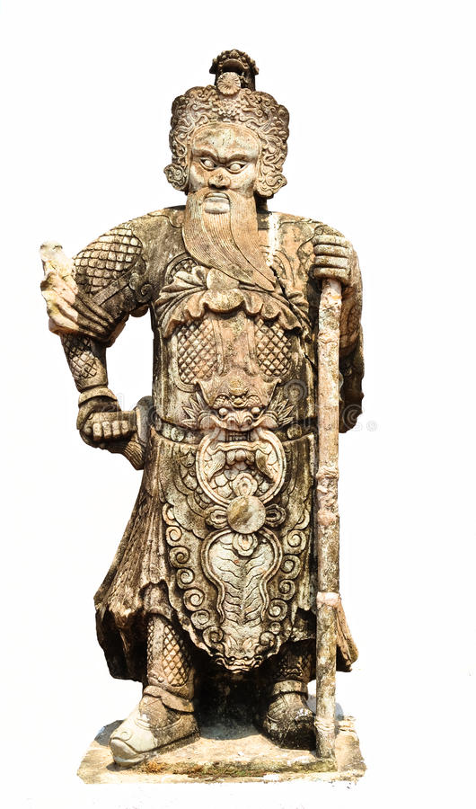 Escultura china antigua del guerrero imagenes de archivo