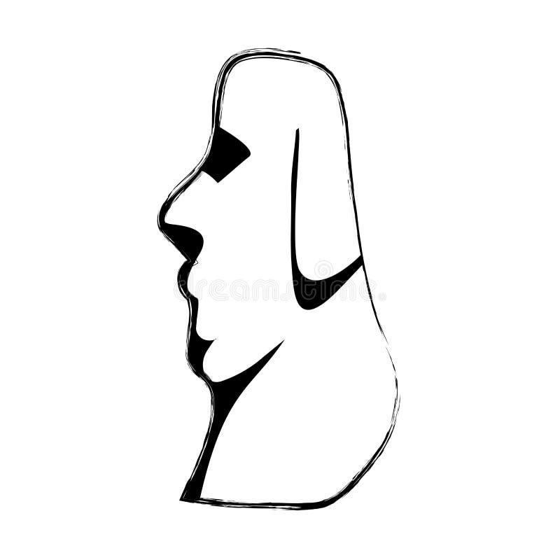 Escultura clásica del moai del Grunge de la isla de pascua stock de ilustración