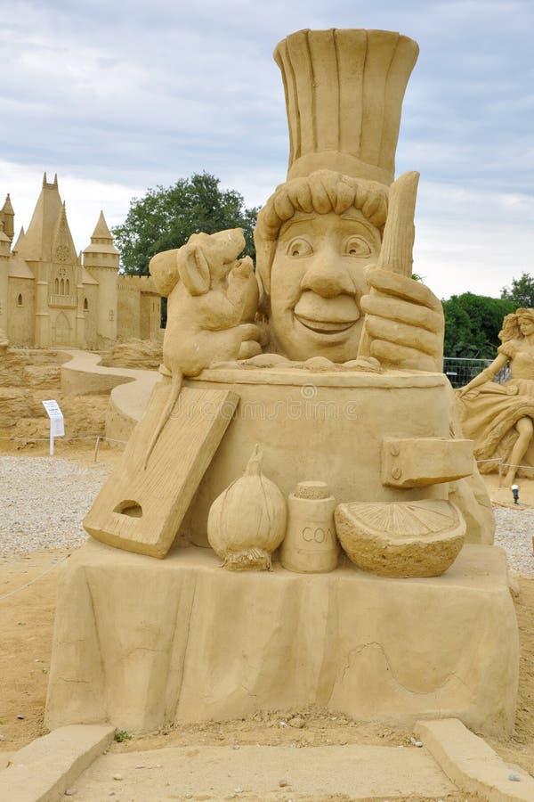 Escultura da areia do filme de Ratatouille foto de stock royalty free