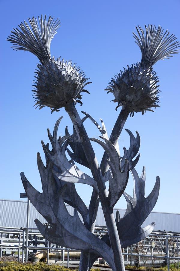 Escultura de aço do cardo - Edimburgo, Escócia fotografia de stock