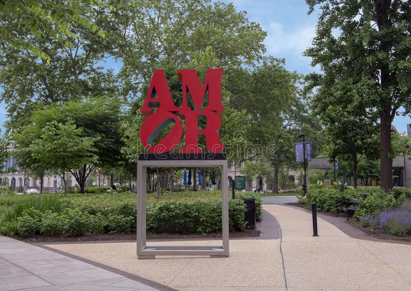 Escultura de Amor por Robert Indiana, irmã Cities Park, Philadelphfia, Pensilvânia foto de stock