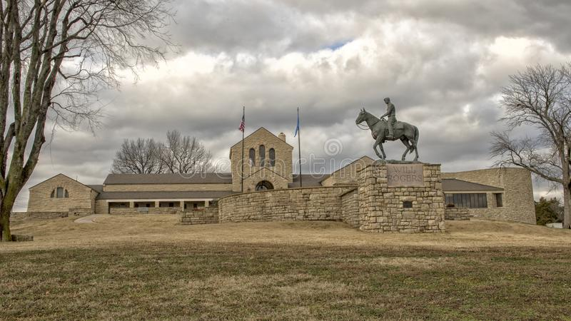 Escultura de bronce de la voluntad Rogers a caballo, Claremore, Oklahoma fotografía de archivo