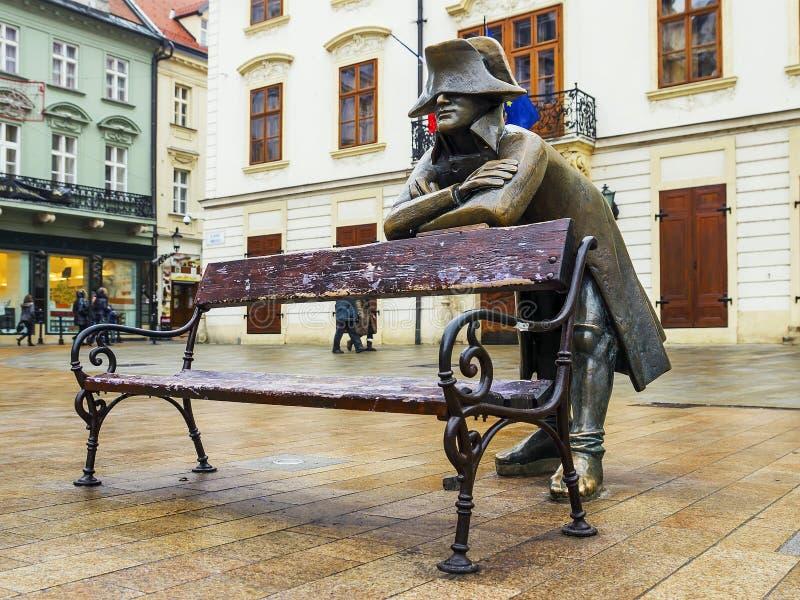 Escultura de bronze de Napoleon, Bratislava, Eslováquia fotografia de stock