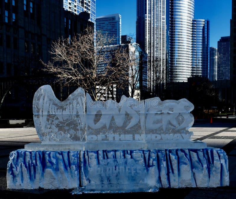 Escultura de gelo #1 dos Chicago Bears fotografia de stock royalty free