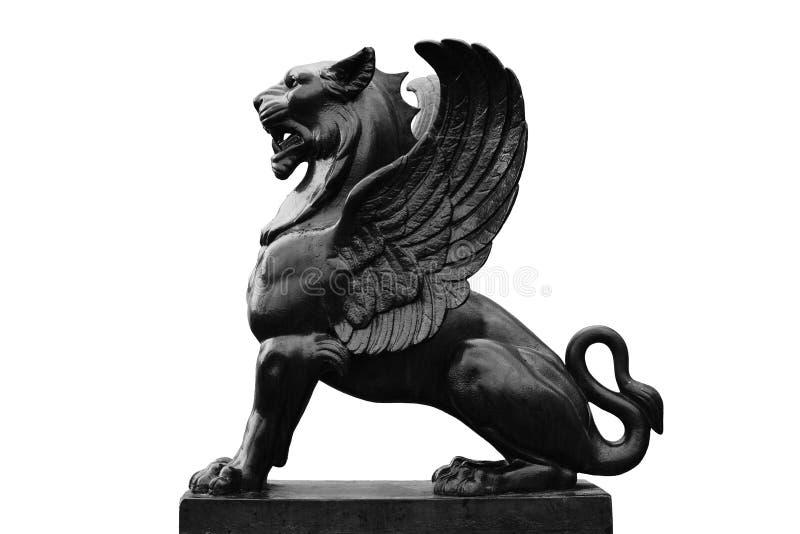 Escultura de Griffon isolada no fundo branco imagem de stock