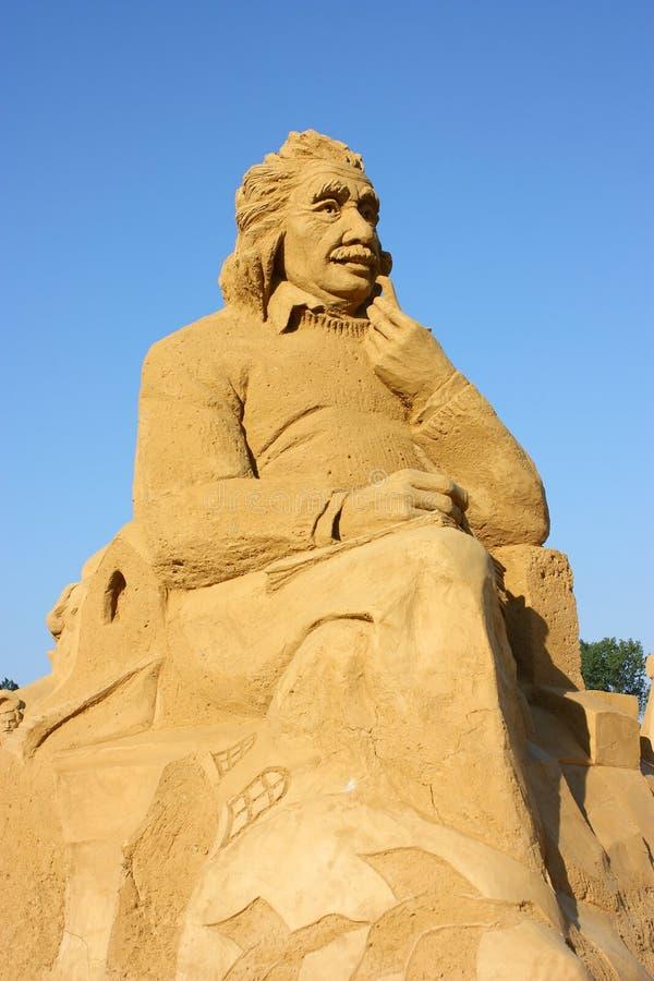 Escultura de la arena de Albert Einstein foto de archivo