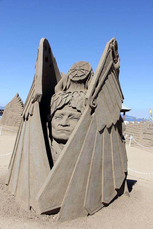 Escultura de la arena, Parksville, A.C. foto de archivo