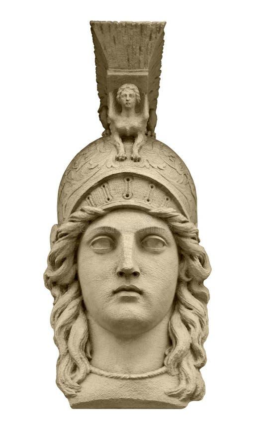 Escultura de la cabeza de Athena de la diosa del Griego clásico fotografía de archivo libre de regalías