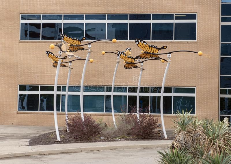 Escultura de la mariposa de monarca de David Hickman fuera del centro ambulativo de la cirugía de Parkland Simmons, Dallas, Tejas foto de archivo libre de regalías