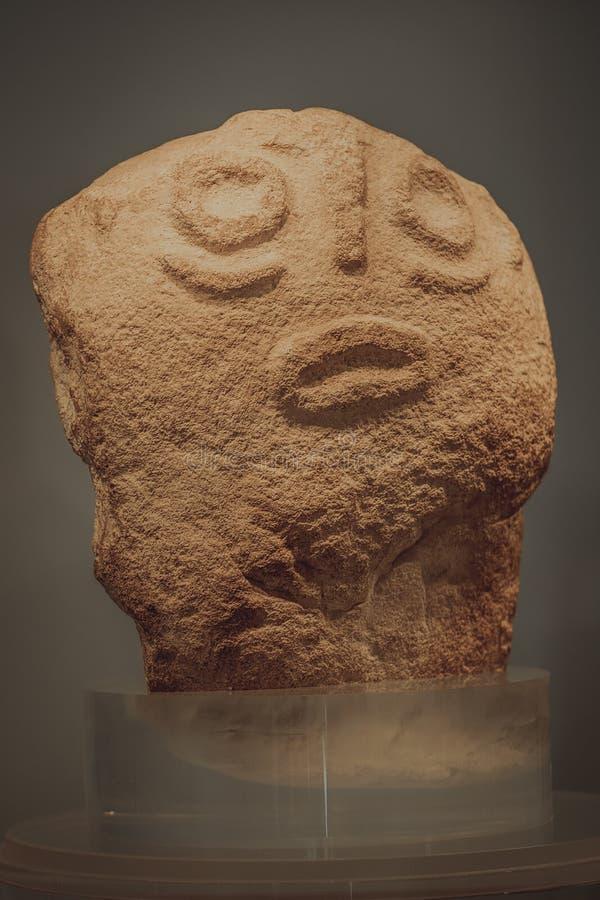 Escultura de piedra - Lepenski vir en Serbia fotografía de archivo libre de regalías