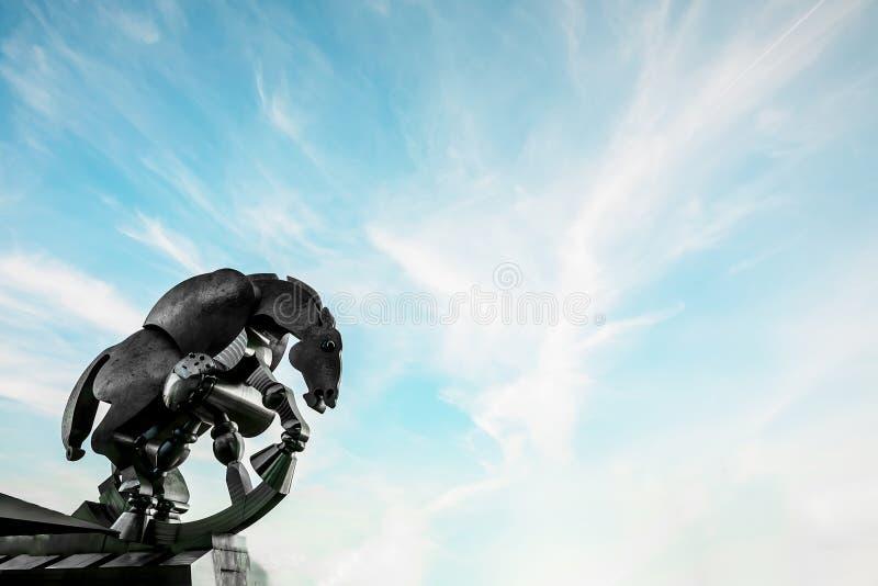 Escultura de rolamento do metal do cavalo em um dia claro imagem de stock