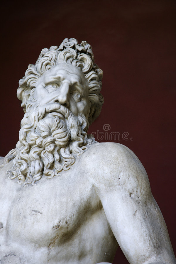 Escultura de Tiber del río en el Vatican. fotografía de archivo