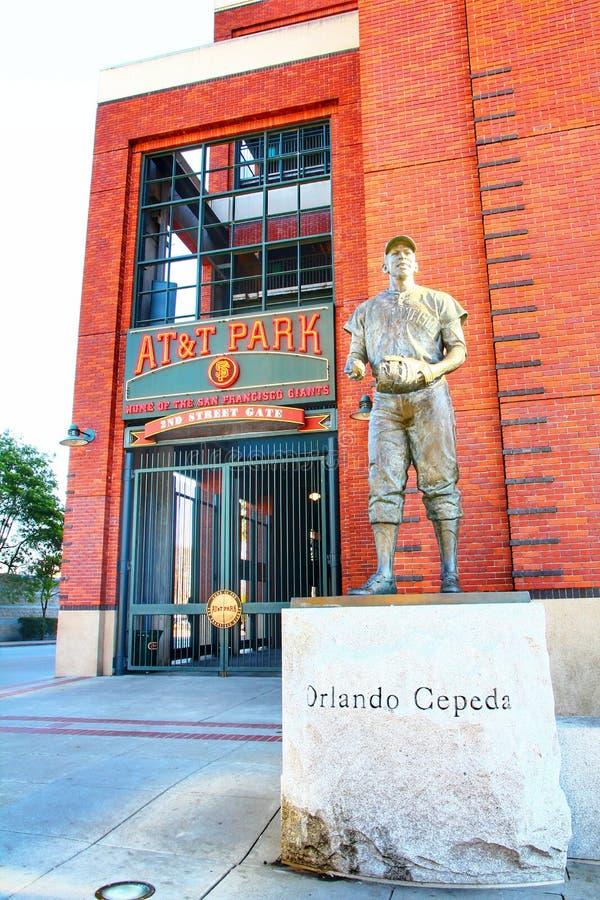 Escultura de um jogador anterior de San Francisco Giants foto de stock royalty free