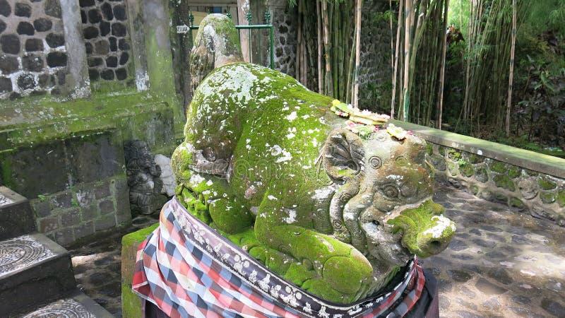 Escultura de um porco cinzelado da pedra natural Suporte envolvido com tela com teste padrão quadriculado Ilustração do mythol do imagens de stock