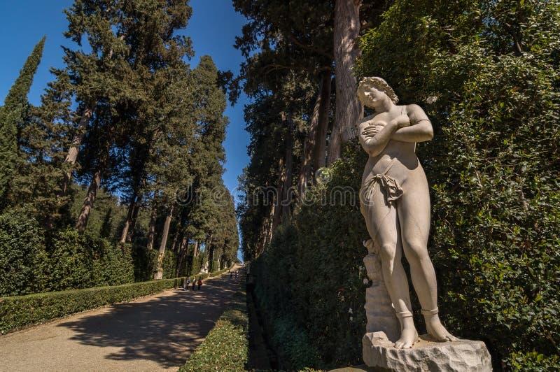 Escultura de uma mulher despida na aleia de Cypress, Florença imagem de stock