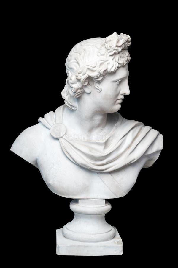 Escultura del busto de Apolo de dios Dios del griego clásico de la copia del yeso de Sun y de la poesía de una estatua de mármol  imagen de archivo libre de regalías